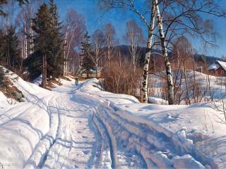 Собирать пазл Зимняя дорога онлайн