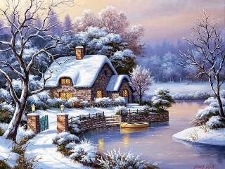 Собирать пазл Зимняя идиллия онлайн
