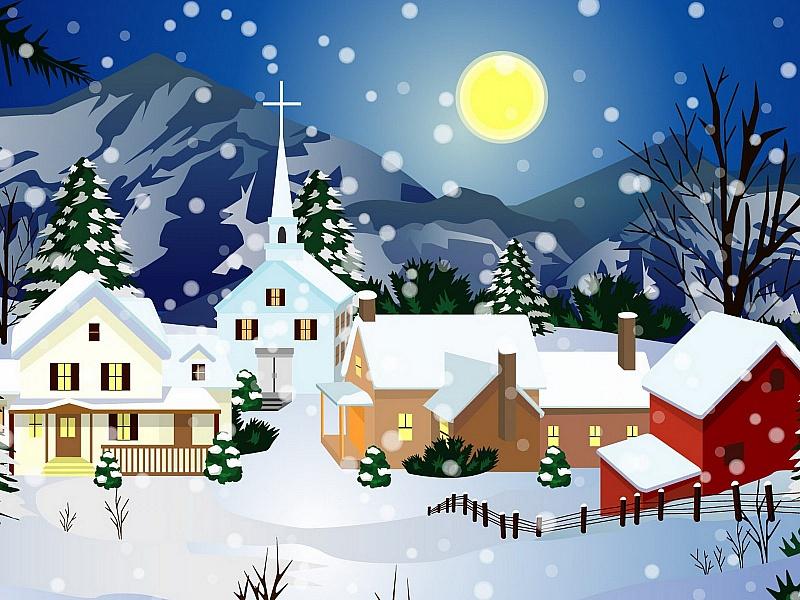 Пазл Собирать пазлы онлайн - Зимняя луна
