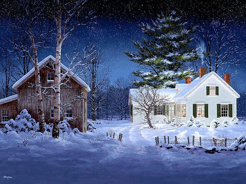 Пазл Собирать пазлы онлайн - Зимняя ночь