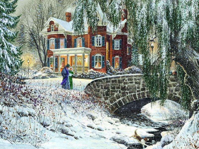 Пазл Собирать пазлы онлайн - Зимняя прогулка
