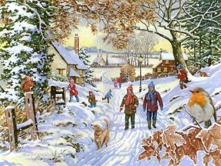 Собирать пазл Зимняя прогулка онлайн
