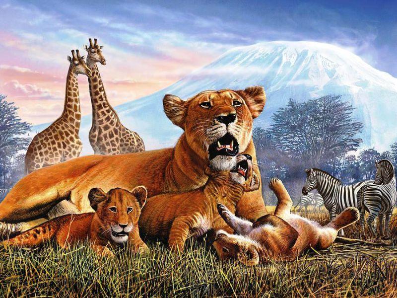 Пазл Собирать пазлы онлайн - Звери и Килиманджаро