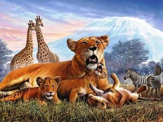 Собирать пазл Звери и Килиманджаро онлайн