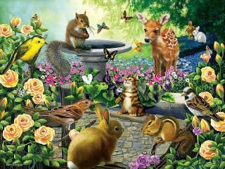 Собирать пазл Зверюшки в саду онлайн