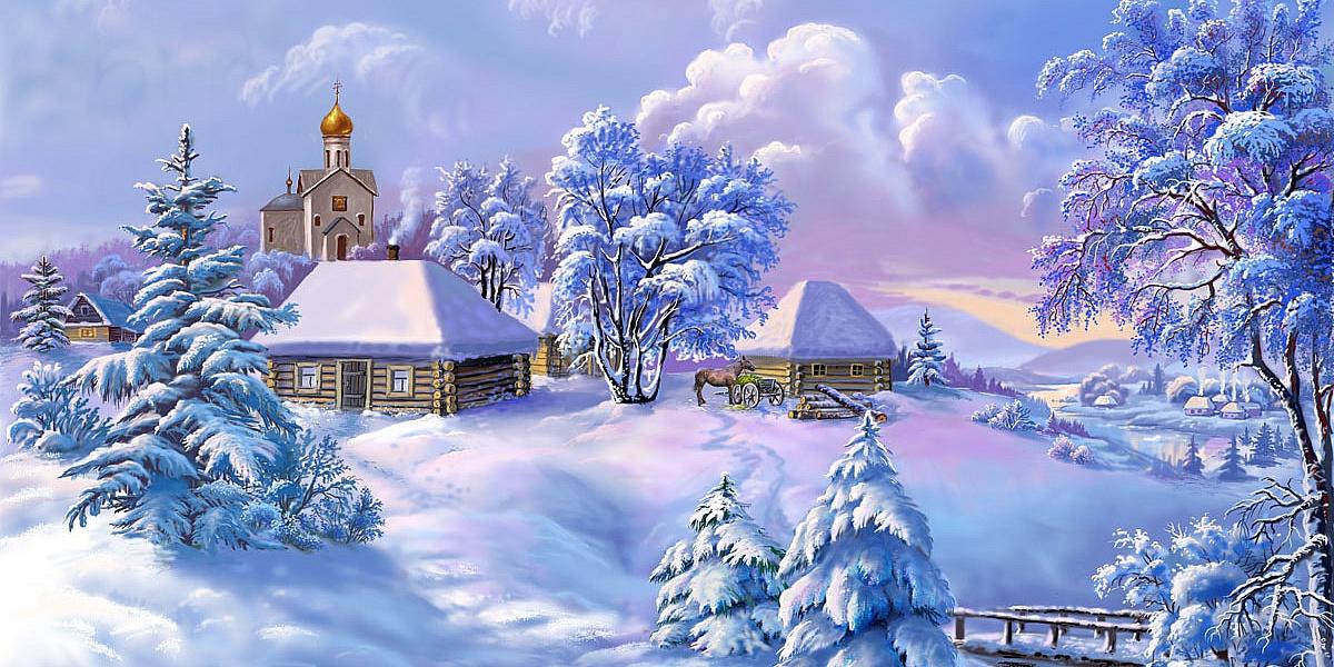 Новогодние открытки с зимним пейзажем 80 годов, петров