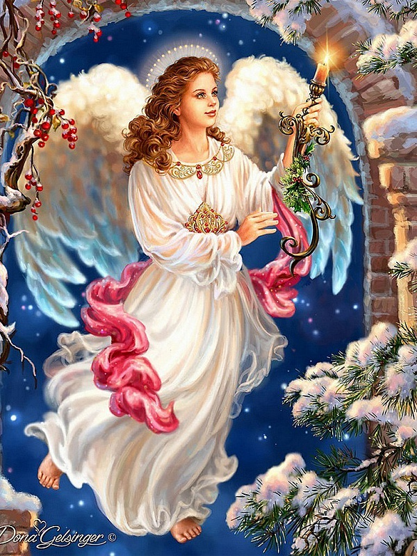 Пазл Собирать пазлы онлайн - Ангел со свечой