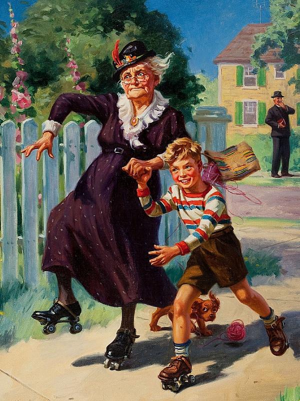 Пазл Собирать пазлы онлайн - Бабушка и внук