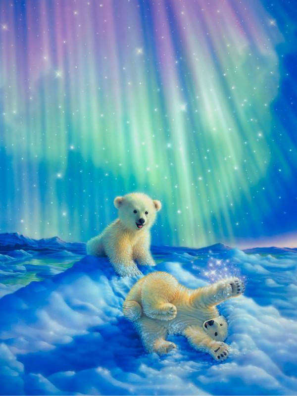 Пазл Собирать пазлы онлайн - Белые медвежата