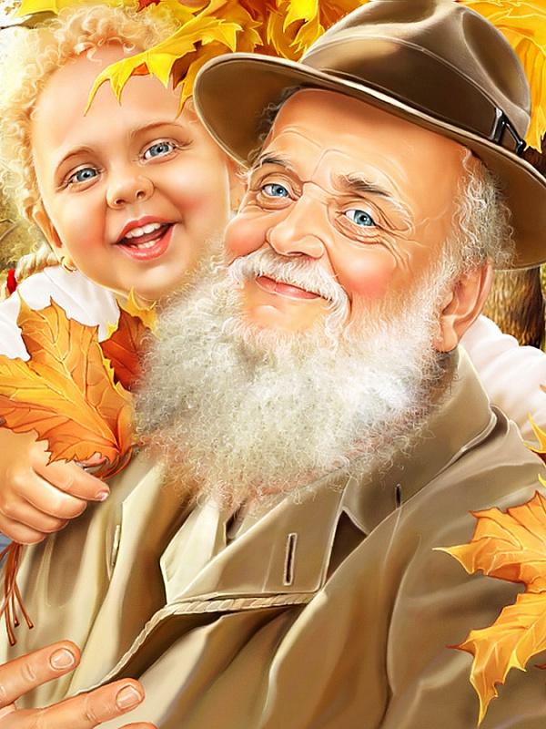 Пазл Собирать пазлы онлайн - Дедушка и внучка