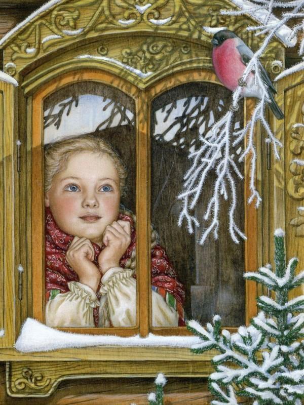 Пазл Собирать пазлы онлайн - Девочка и снегирь