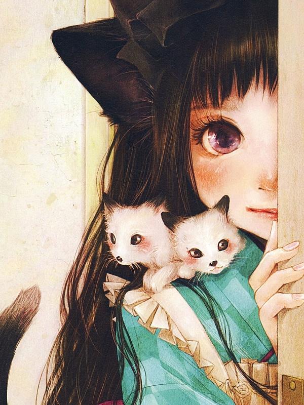 Пазл Собирать пазлы онлайн - Девочка с котятами