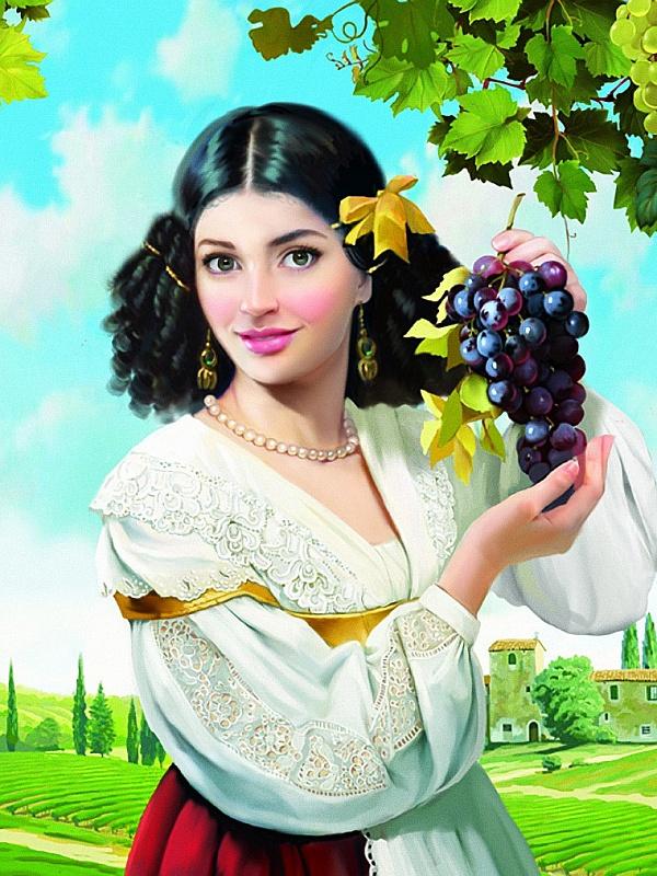 Собирать пазлы онлайн - Девушка и виноград Сега Приколы