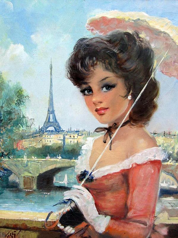 Пазл Собирать пазлы онлайн - Девушка с зонтиком