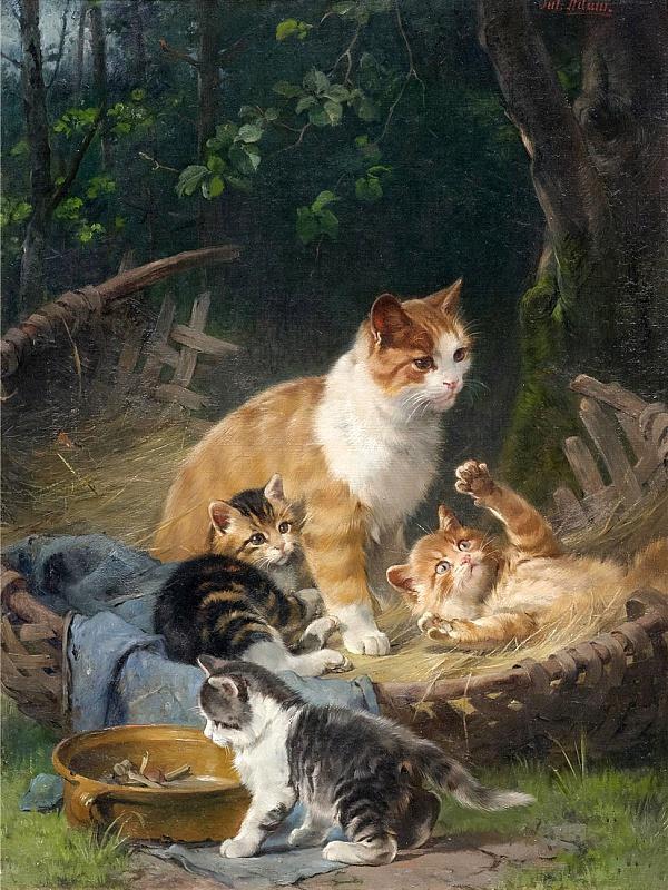 Пазл Собирать пазлы онлайн - Кошка с котятами