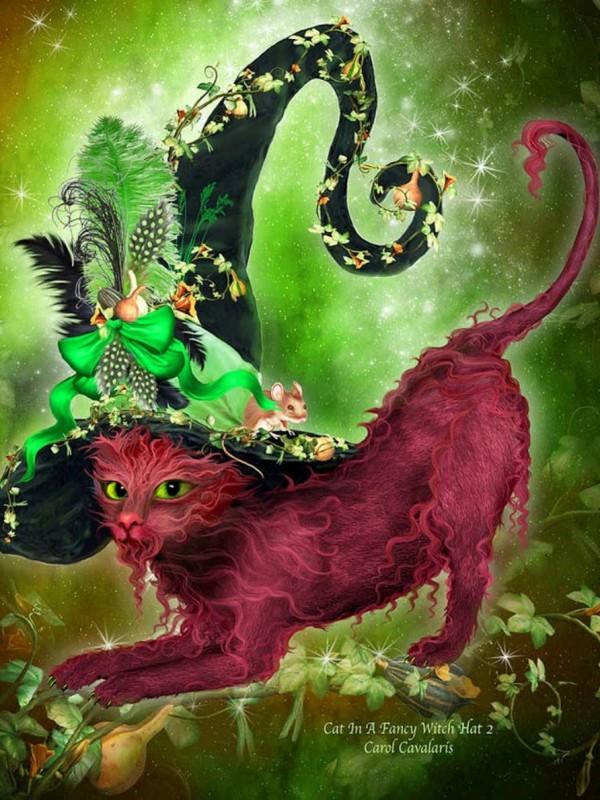 Пазл Собирать пазлы онлайн - Кошка в шляпе ведьмы