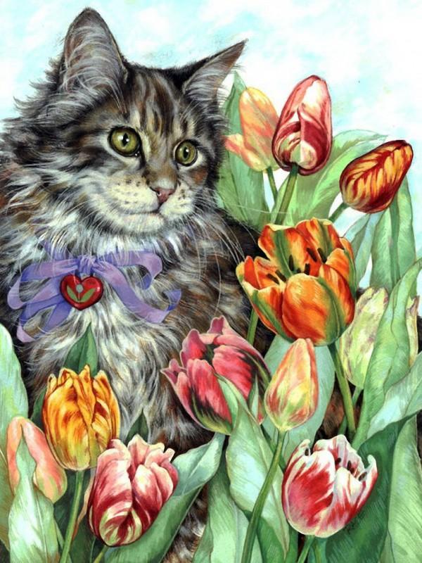 Пазл Собирать пазлы онлайн - Кот и тюльпаны