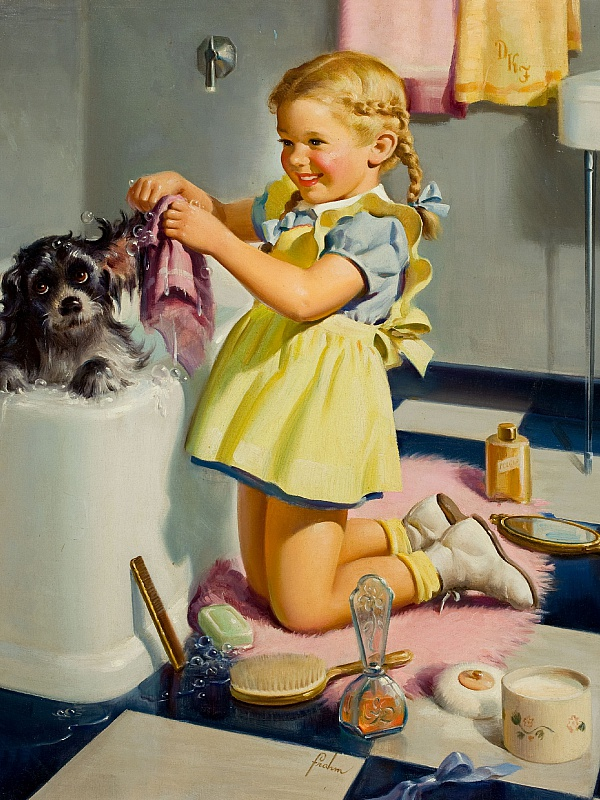 Пазл Собирать пазлы онлайн - Купание щенка