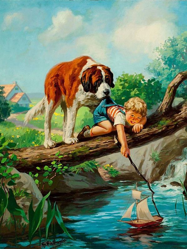 Пазл Собирать пазлы онлайн - Мальчик и собака
