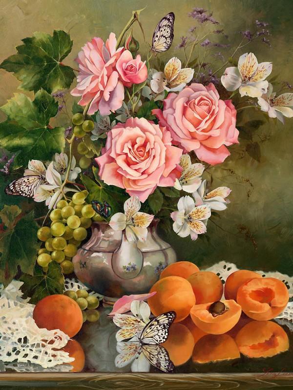 Пазл Собирать пазлы онлайн - Натюрморт с абрикосами