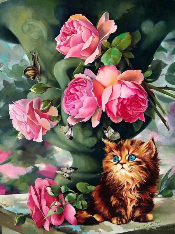 Пазл Собирать пазлы онлайн - Натюрморт с котенком