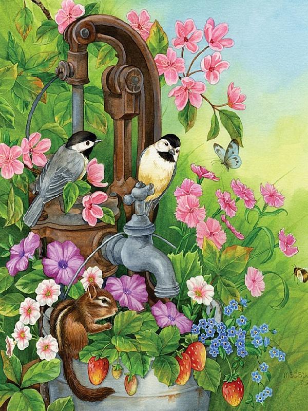 Пазл Собирать пазлы онлайн - Птицы и бурундук