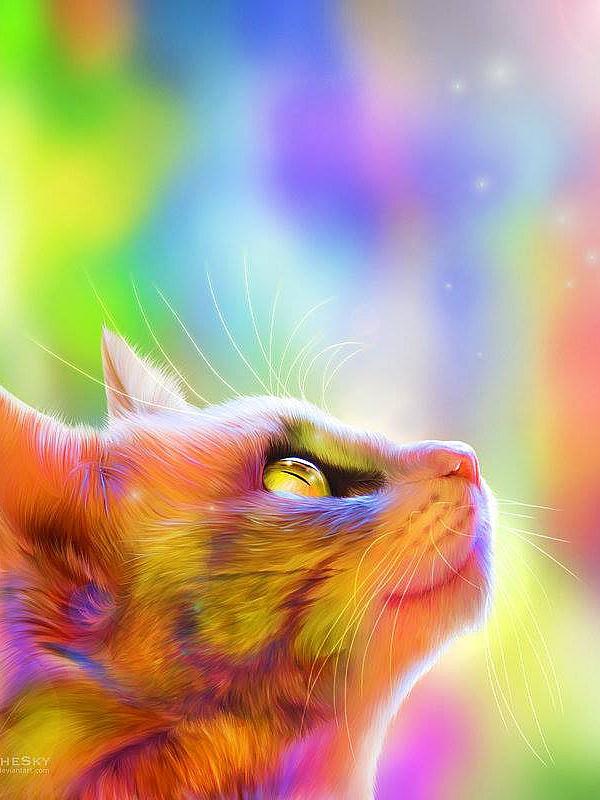 Пазл Собирать пазлы онлайн - Радужный кот