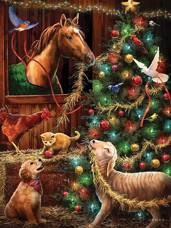 Пазл Собирать пазлы онлайн - Рождество на конюшне