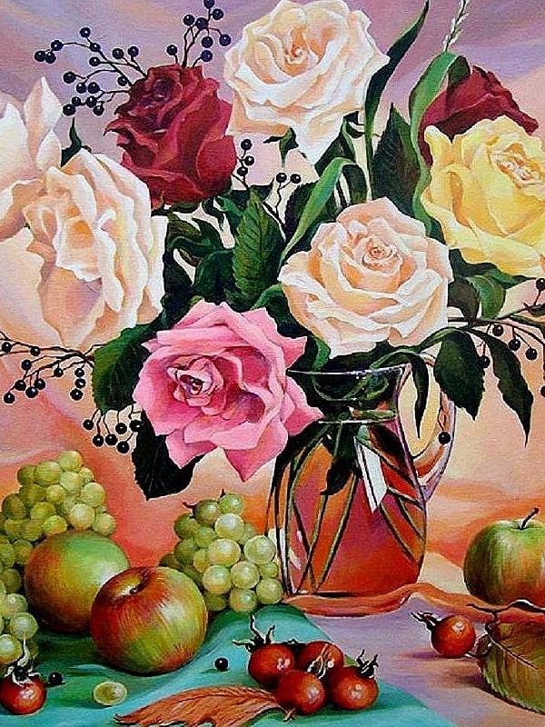 Пазл Собирать пазлы онлайн - Розы и фрукты