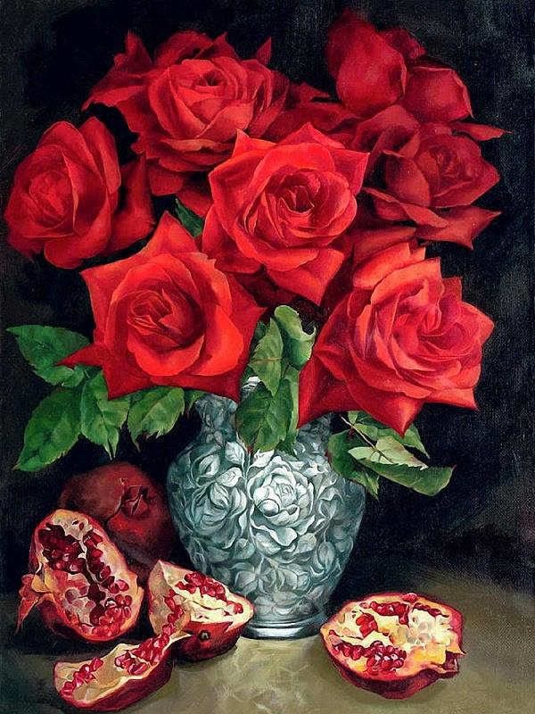 Пазл Собирать пазлы онлайн - Розы и гранат