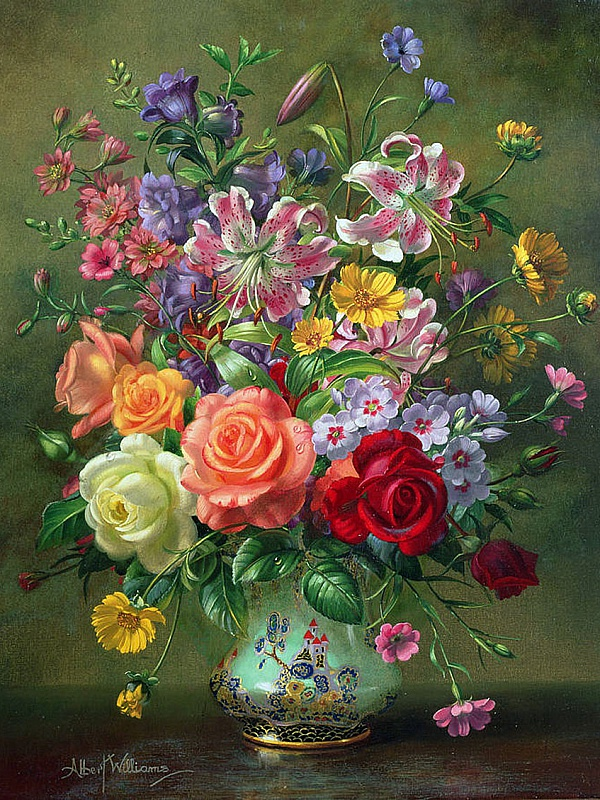 Пазл Собирать пазлы онлайн - Розы и лилии