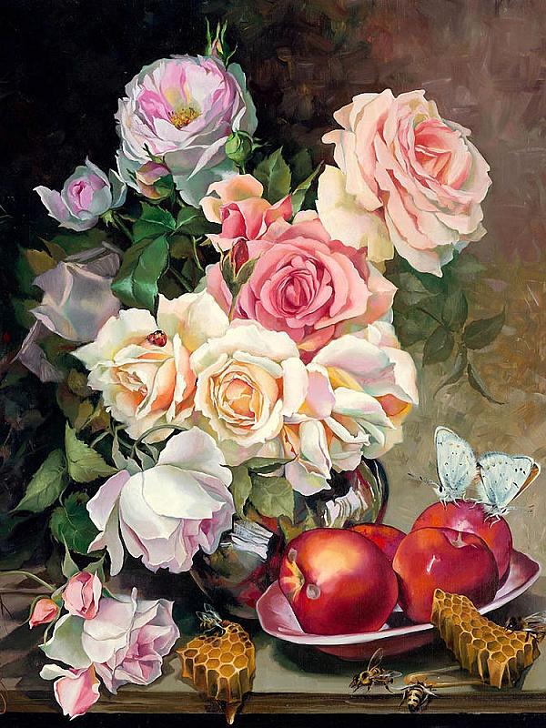 Пазл Собирать пазлы онлайн - Розы и яблоки