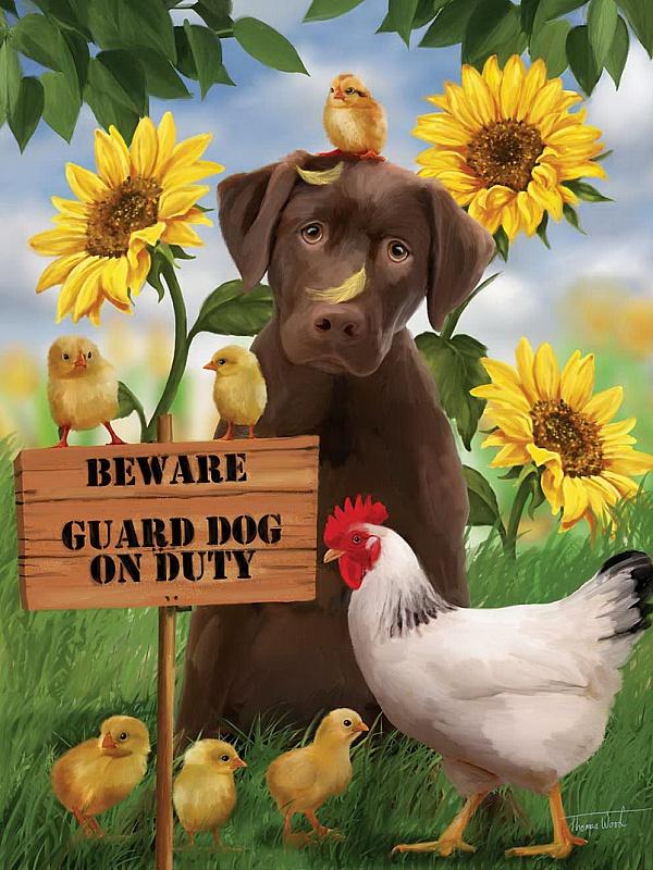 Пазл Собирать пазлы онлайн - Собака и курица