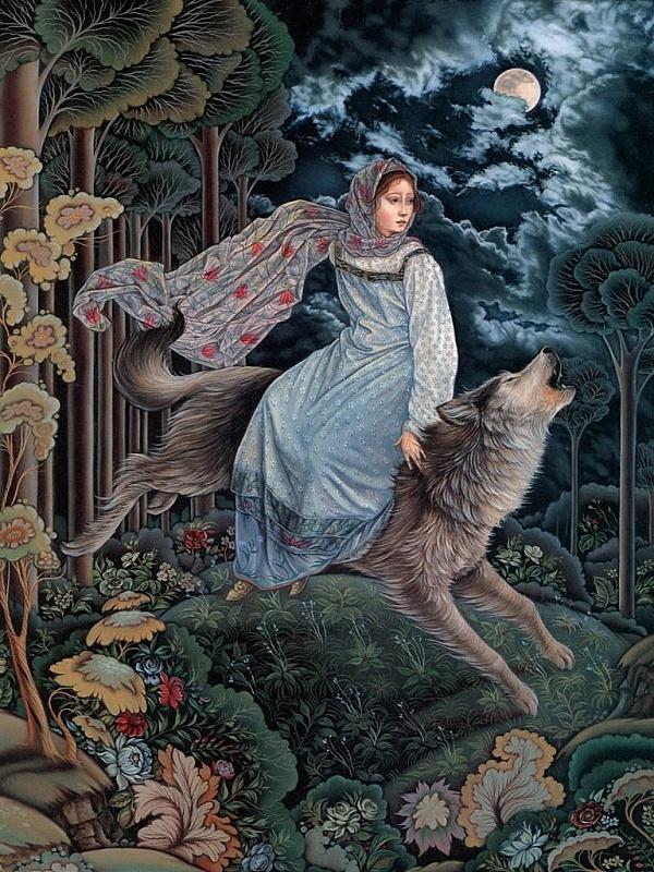 Пазл Собирать пазлы онлайн - Царевна и серый волк