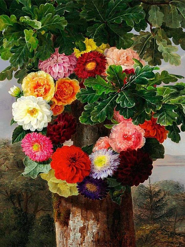 Пазл Собирать пазлы онлайн - Цветы на дереве