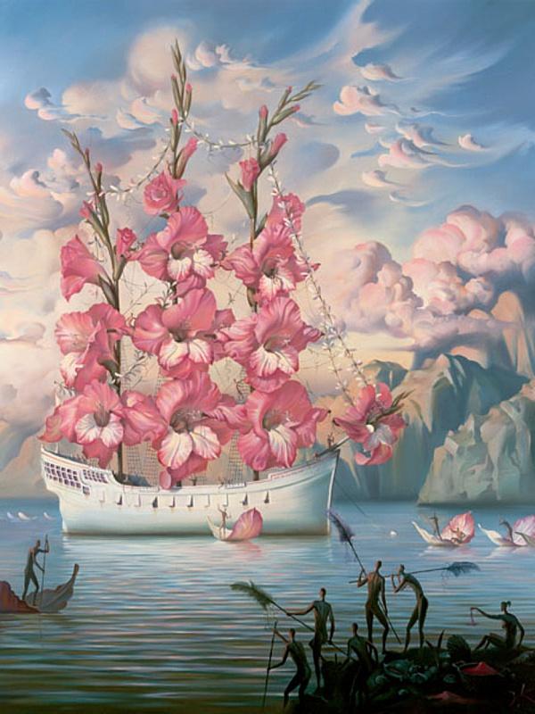 Пазл Собирать пазлы онлайн - Цветочный корабль