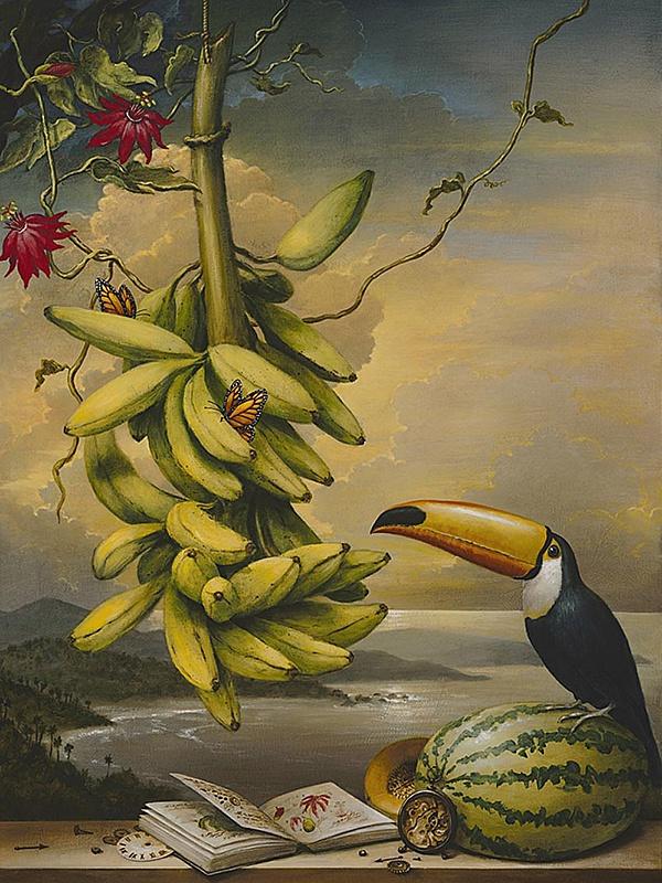 Пазл Собирать пазлы онлайн - Тукан и фрукты