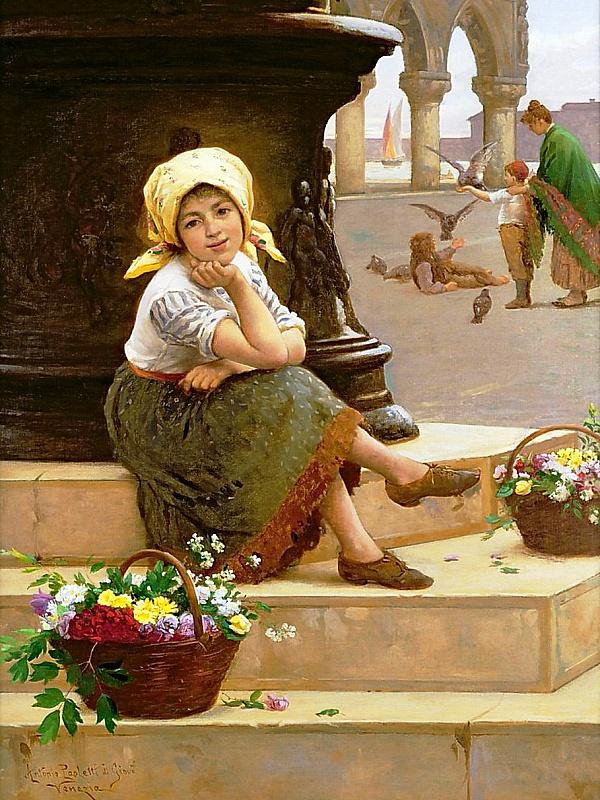 Пазл Собирать пазлы онлайн - Юная цветочница