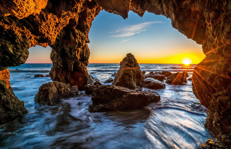 Пещера море рассвет камни  № 381357 без смс