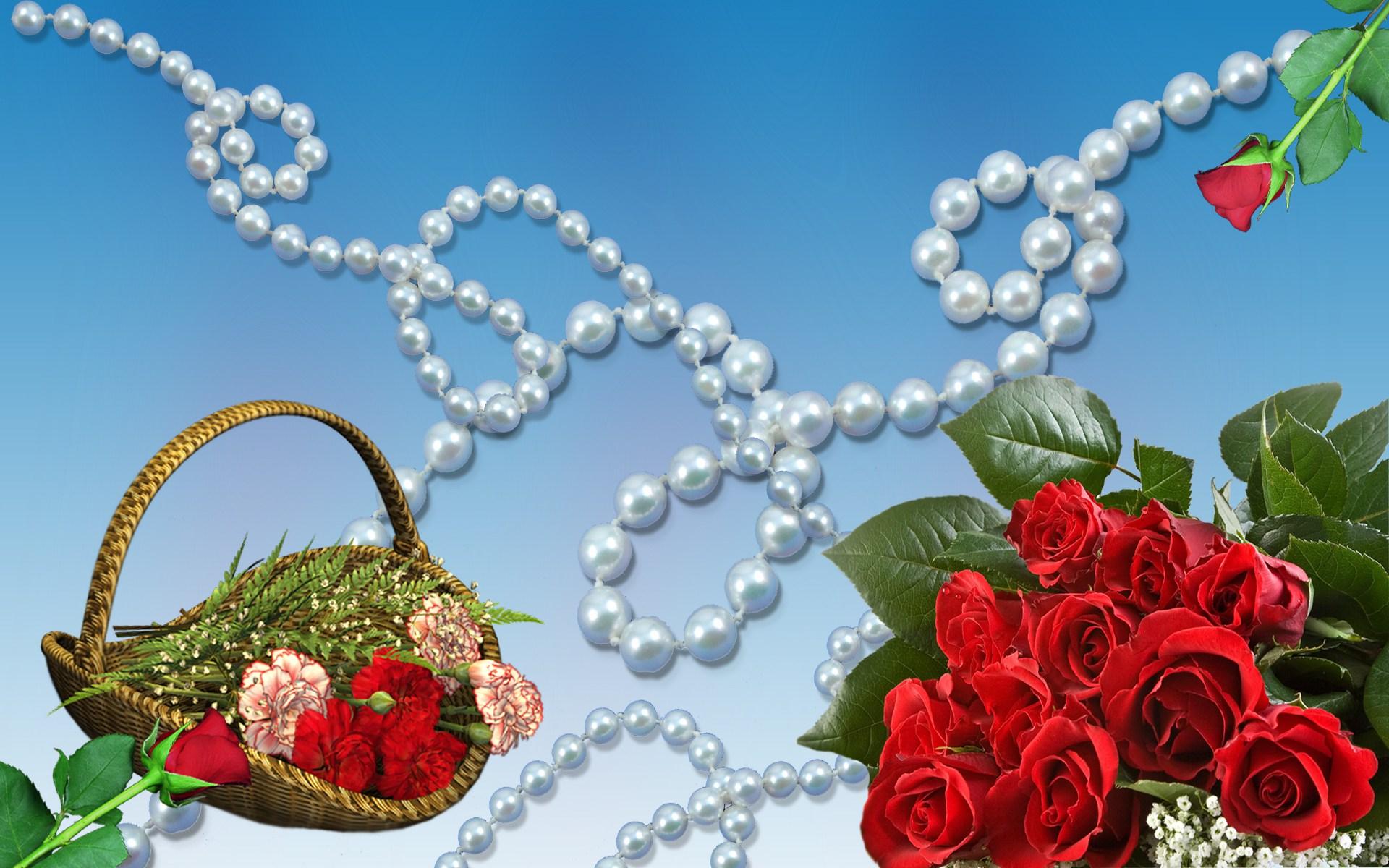 обои на рабочий стол розы и жемчуг скачать бесплатно № 126489 бесплатно