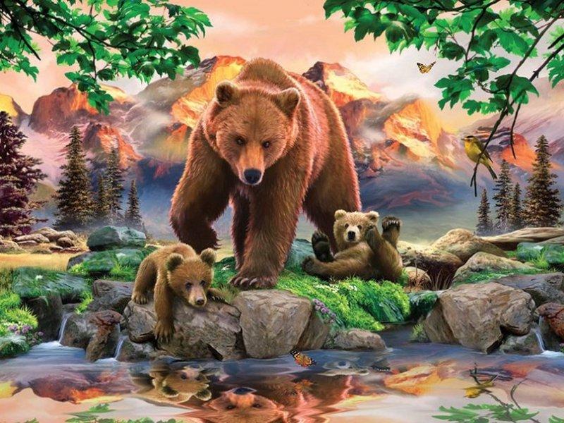Рисунки медведей на природе