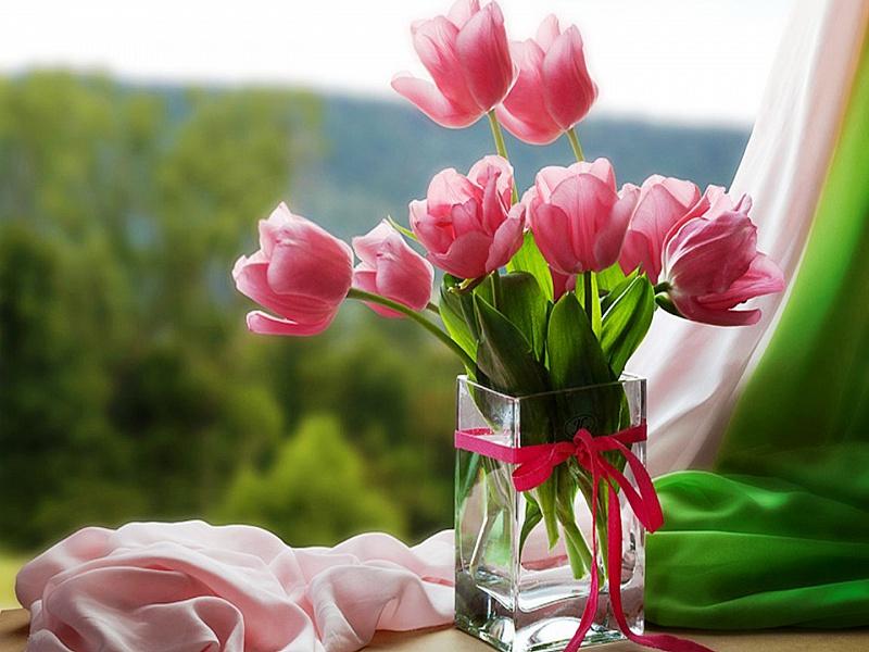 Открытки с тюльпанами с добрым утром 35